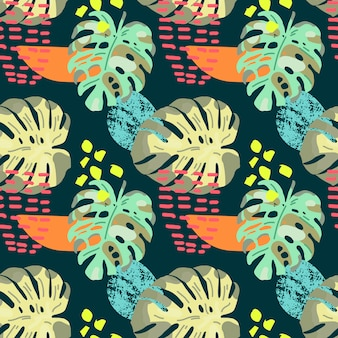 Hand drawn tropical seamless pattern.