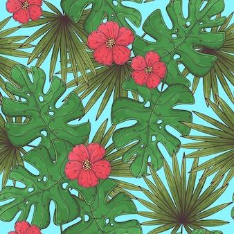 손으로 그린 된 열 대 원활한 패턴
