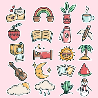 Hand drawn tropical summer collection vector