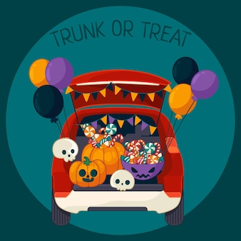 Hand drawn trunk or treat background