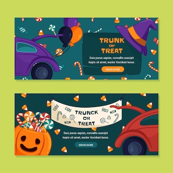 Hand drawn trunk or treat horizontal banners set