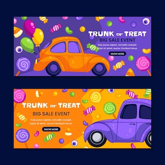 Hand drawn trunk or treat horizontal sale banners set