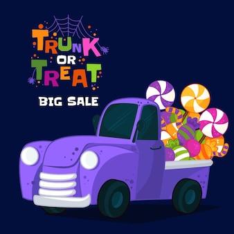Hand drawn trunk or treat sale illustration