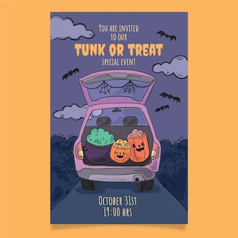 Hand drawn trunk or treat vertical poster template