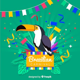 Hand drawn tucan brazilian carnival background