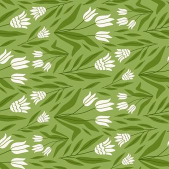 淡い緑の背景の自由奔放に生きるスタイルのイラストで手描きのチューリップの花のシームレスなパターン
