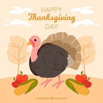 Hand drawn turkey thanksgiving background