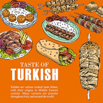 Hand drawn turkish food