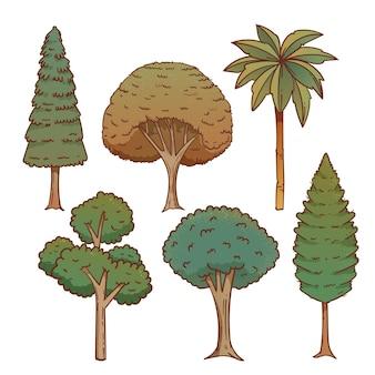 手描きタイプのエキゾチックな木のコレクション