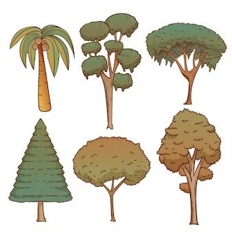 手描きタイプのエキゾチックな木のセット