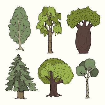 手描きタイプの木コレクション