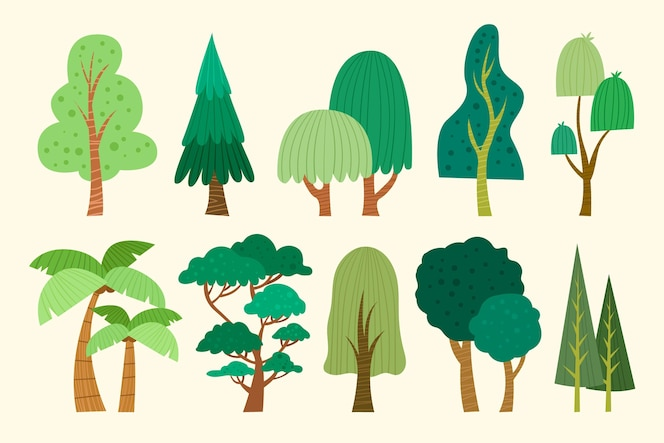 Hand drawn type of trees collection