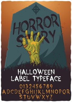 Hand drawn typeface named horror story