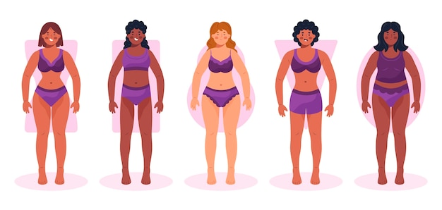 Hand drawn types of female body shapes collection