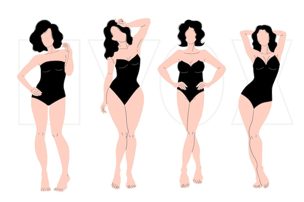 Hand drawn types of female body shapes