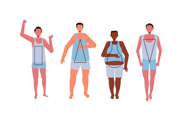 Hand drawn types of male body shapes