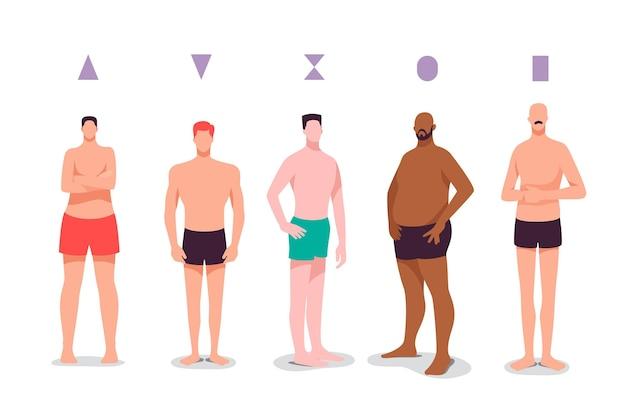 Tipi di forme del corpo maschile disegnati a mano