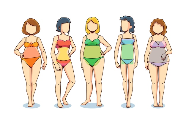 Коллекция рисованной формы женского тела