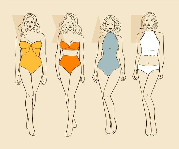 女性の体型の手描きタイプ