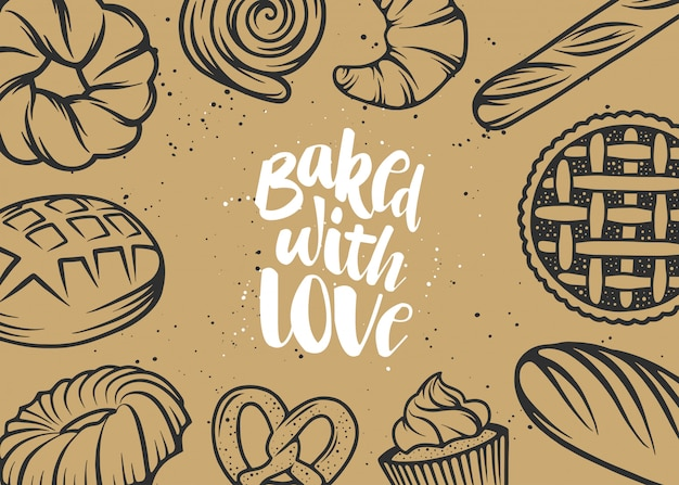 Hand drawn typography design, baked with love.