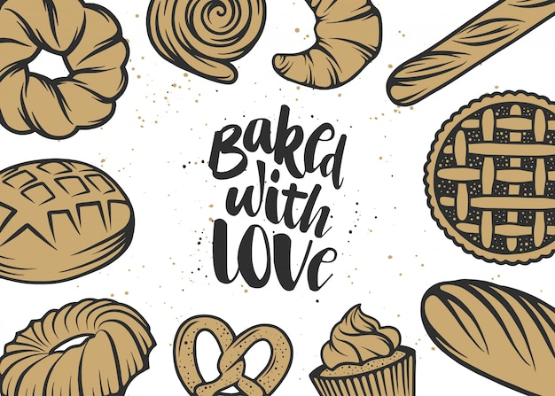 Hand drawn typography design with bread, pastry