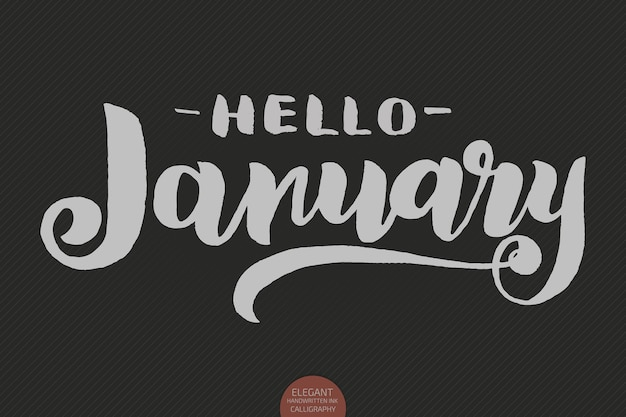 Рисованной типографии надписи фраза привет, январь