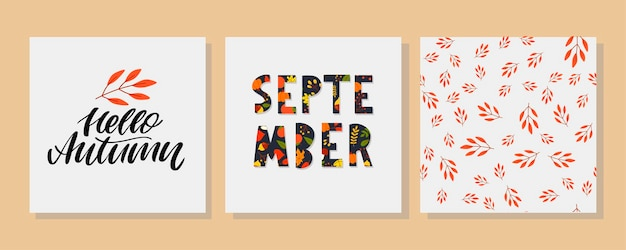 Hand drawn typography lettering phrase hello september isolated on the white background with golden ...