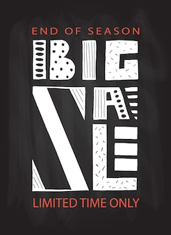 Hand drawn typography poster big sale banner on colorful background sale background big sale