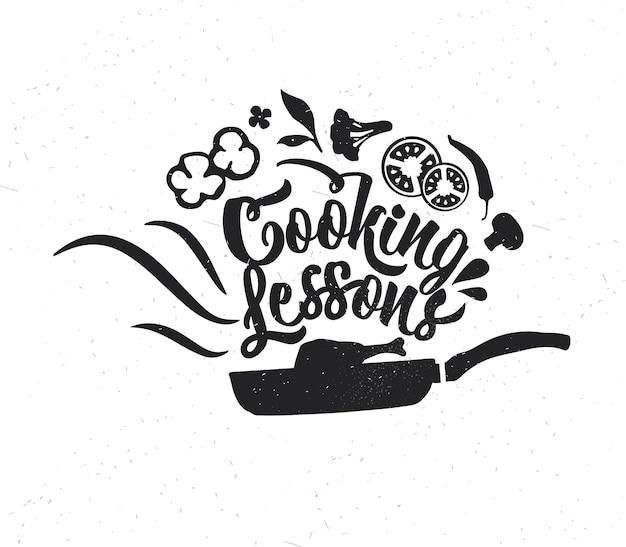 손으로 그린 타이포그래피 포스터입니다. 영감을 주는 벡터 인쇄술. 요리 수업 . 벡터 서예