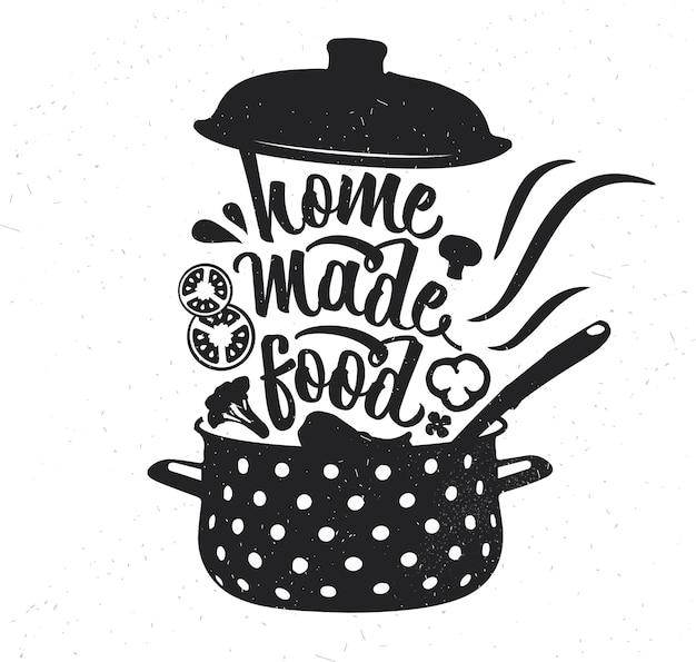 手描きのタイポグラフィポスター。心に強く訴えるベクトルタイポグラフィ。手作りの料理。 。ベクトル書道