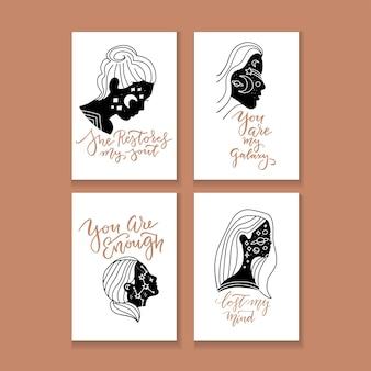 손으로 그린 타이포그래피 포스터 세트, 인사말 카드 또는 여자의 머리 실루엣과 문구가있는 초대장을 인쇄하십시오. 손으로 그린 글자 견적.