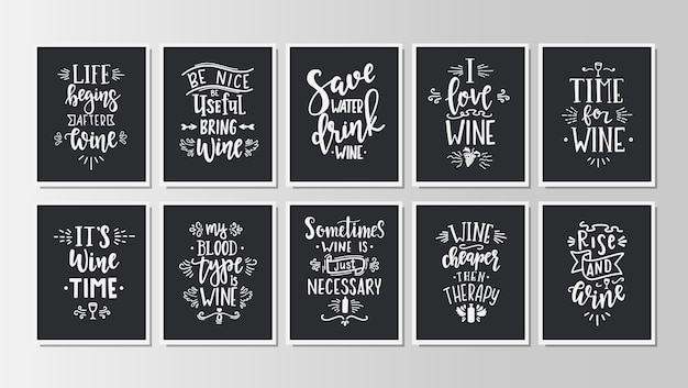 Hand drawn typography posters set.