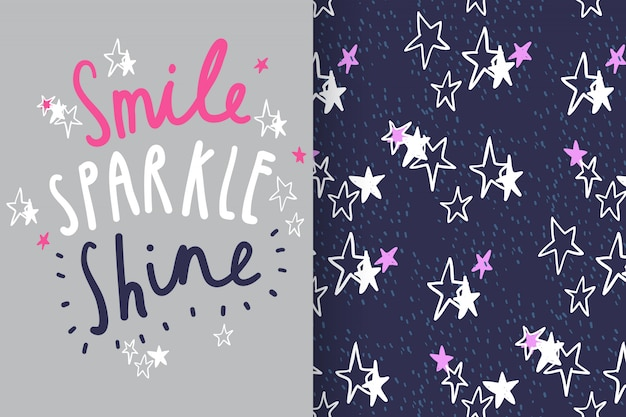 Hand drawn typography & star with pattern vector set