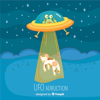 Hand drawn ufo abduction concept