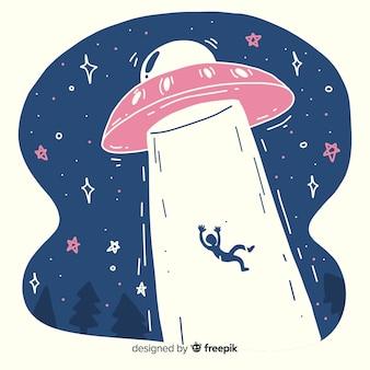 Hand drawn ufo abduction concept