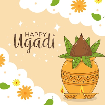 Hand-drawn ugadi celebration