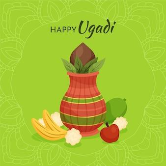 Illustrazione di festa ugadi disegnata a mano