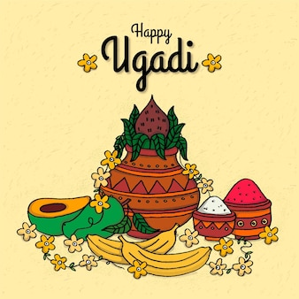Hand drawn ugadi illustration