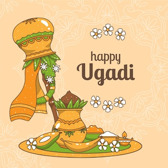 Hand-drawn ugadi theme