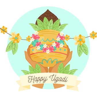 Hand drawn ugadi with hand holding pot with plant