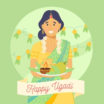 Hand drawn ugadi with woman and candle