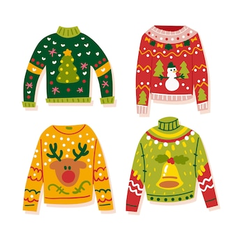 Hand drawn ugly sweater collection