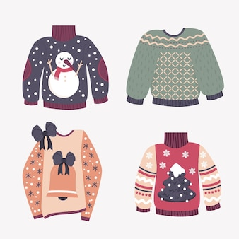 Коллекция рисованной уродливых свитеров