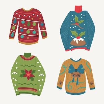 손으로 그린 추한 스웨터 컬렉션