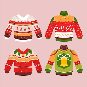 Hand drawn ugly sweater illustration collection