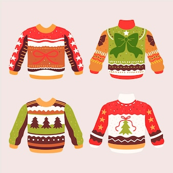 Набор рисованной уродливого свитера