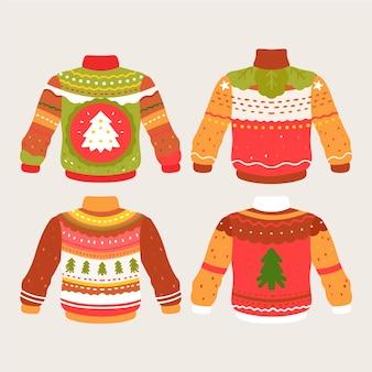 Набор рисованной уродливый свитер