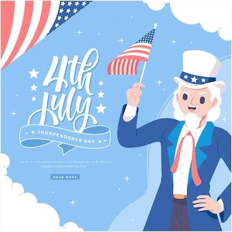Нарисованный рукой дядя сэм персонаж день независимости сша иллюстрация фон