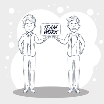 Hand drawn uncolored men and teamwork sign over gray and white background vector illustration