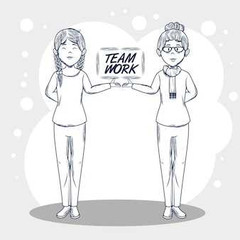 Hand drawn uncolored women and teamwork sign over gray and white background vector illustration